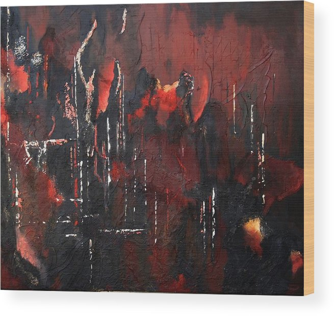 Original Acrylic Abstract Wood Print featuring the painting Connected by Sharon Steinhaus