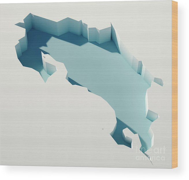 Cartography Wood Print featuring the digital art Costa Rica Simple Intrusion Map 3d Render by Frank Ramspott
