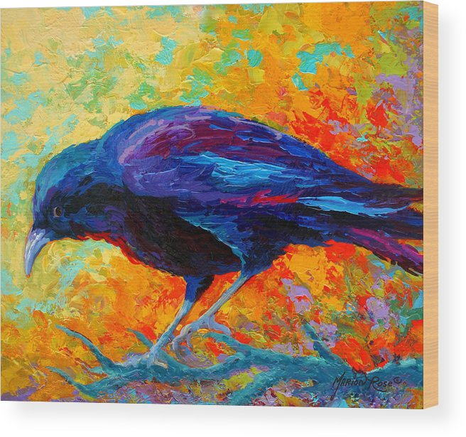 Crows Wood Print featuring the painting Crow IIi by Marion Rose