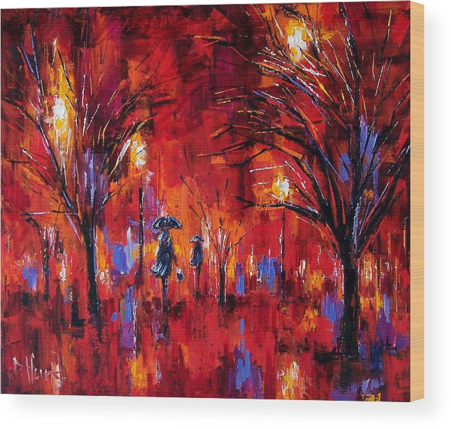 Umbrellas Wood Print featuring the painting Deep Red by Debra Hurd