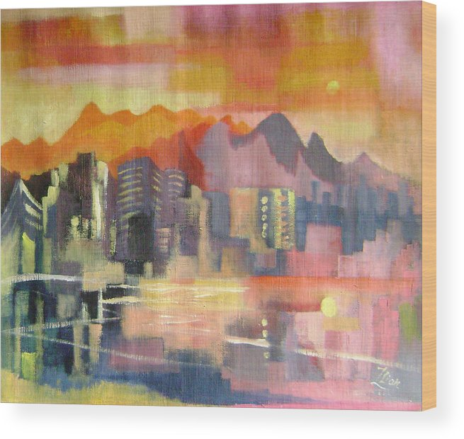 Abstract Wood Print featuring the painting Dream City No.3 by Lian Zhen