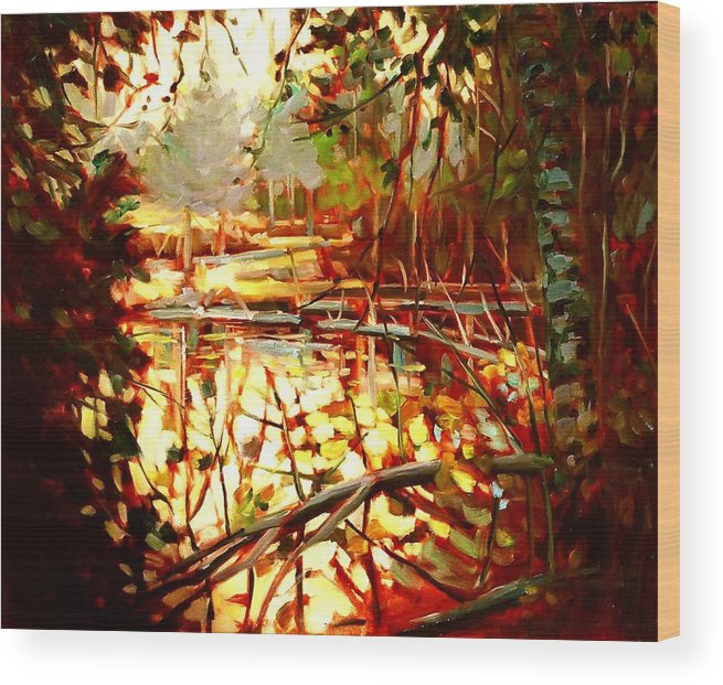 Landscape Paintings Wood Print featuring the painting Durance Lake by Brian Simons