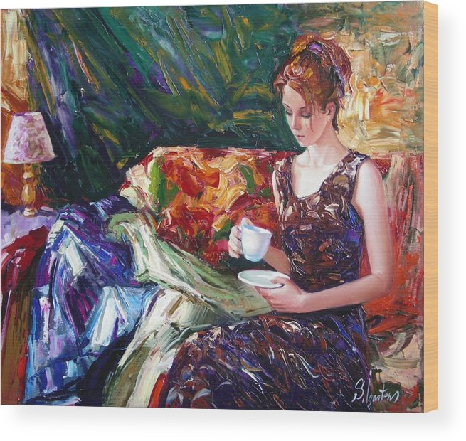 Figurative Wood Print featuring the painting Evening Coffee by Sergey Ignatenko