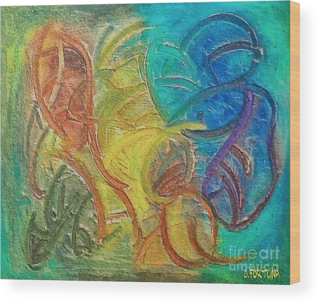 Mixed Media Wood Print featuring the mixed media Fishes by Dragica Micki Fortuna