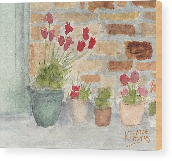 Flower Wood Print featuring the painting Flower Pots by Ken Powers
