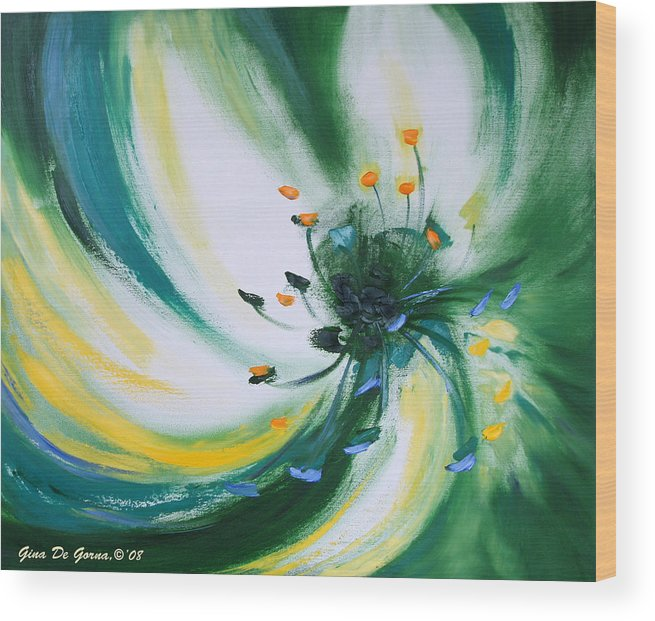 Green Wood Print featuring the painting From The Heart Of A Flower Green by Gina De Gorna