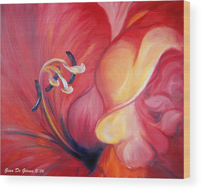 Red Wood Print featuring the painting From The Heart Of A Flower Red by Gina De Gorna