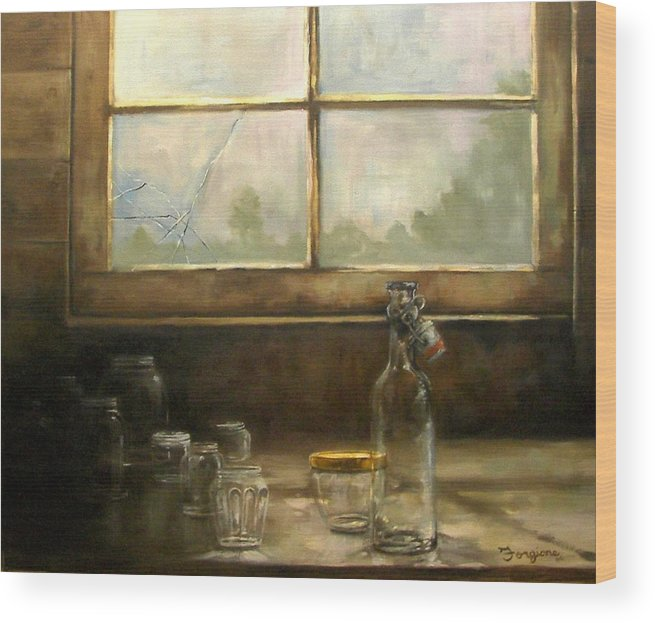 Glass Wood Print featuring the painting Glass Jars By Window by Tom Forgione