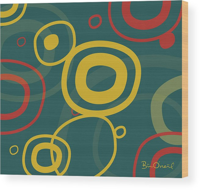 Retro Wood Print featuring the print Gogo - Retro-modern Abstract by Bill ONeil