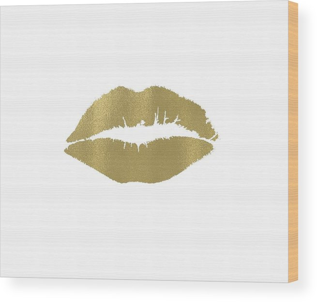 Gold Wood Print featuring the digital art Gold Lips Kiss by P S