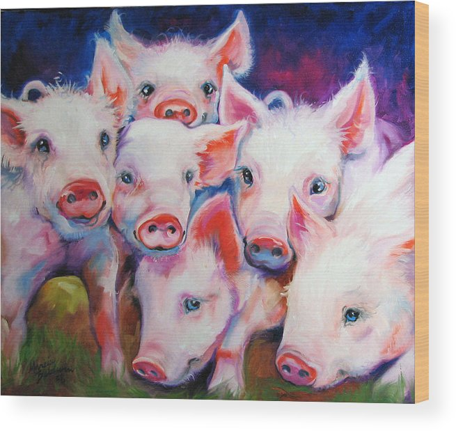 Pig Wood Print featuring the painting Half Dozen Piglets by Marcia Baldwin