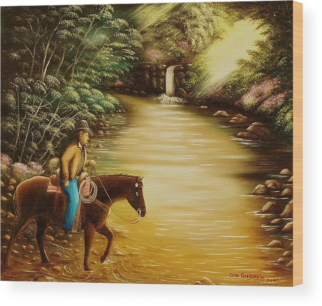Horse And Rider Wood Print featuring the painting Heading Home by Gene Gregory