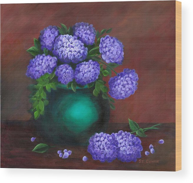 Floral Wood Print featuring the painting Heavenly Hydrangeas by SueEllen Cowan