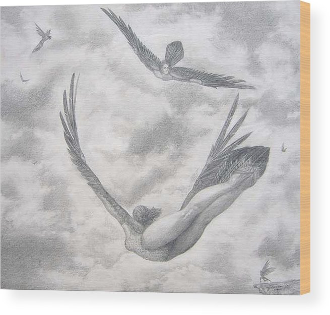 People Flying Wood Print featuring the drawing Icarus Suits by Julianna Ziegler