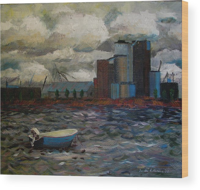 Industry Wood Print featuring the painting Industrial Fishing by Art Nomad Sandra Hansen