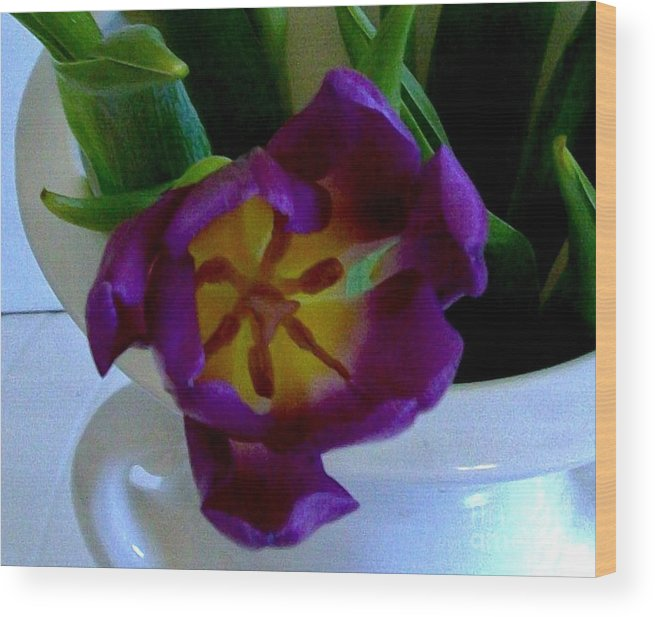 Tulip Wood Print featuring the photograph Inside A Purple Tulip by Marsha Heiken