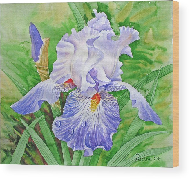 Flowers Wood Print featuring the painting Iris.drops Of Dew .2007 by Natalia Piacheva