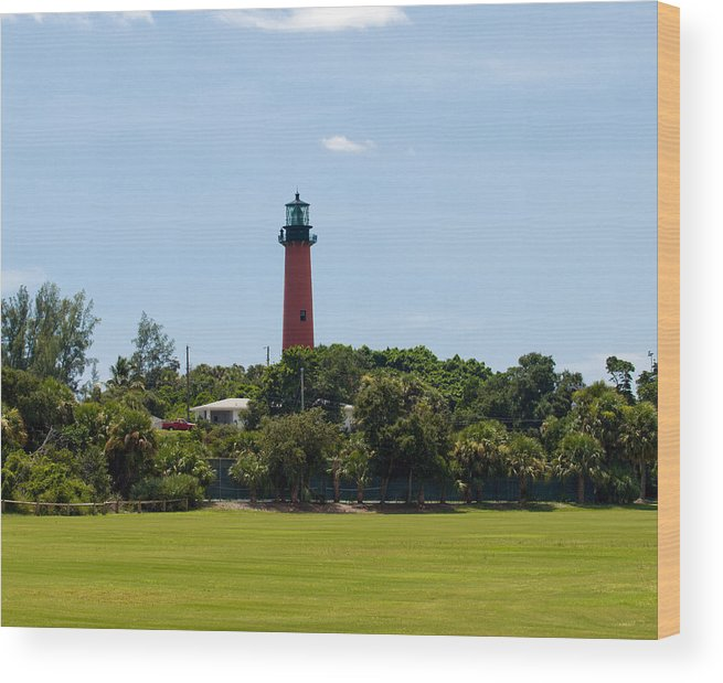 Florida; Juptier; Inlet; Loxahatchee; River; Atlantic; Coast; Shore; Beach; Light; Lighthouse; Beaco Wood Print featuring the photograph Jupiter Inlet Lighthouse by Allan Hughes