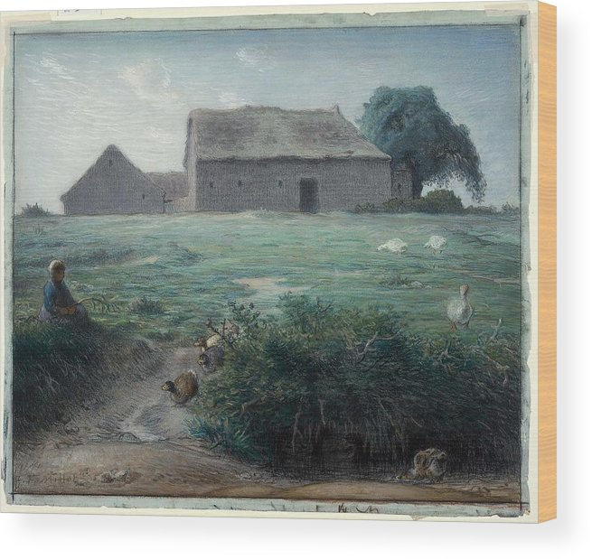 Little Goose Girl 1868 Jean-fran�ois Millet (french Wood Print featuring the painting Little Goose Girl by MotionAge Designs