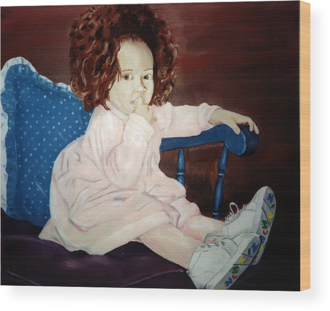 Kevin Callahan Wood Print featuring the painting Little Miss Hassler by Kevin Callahan