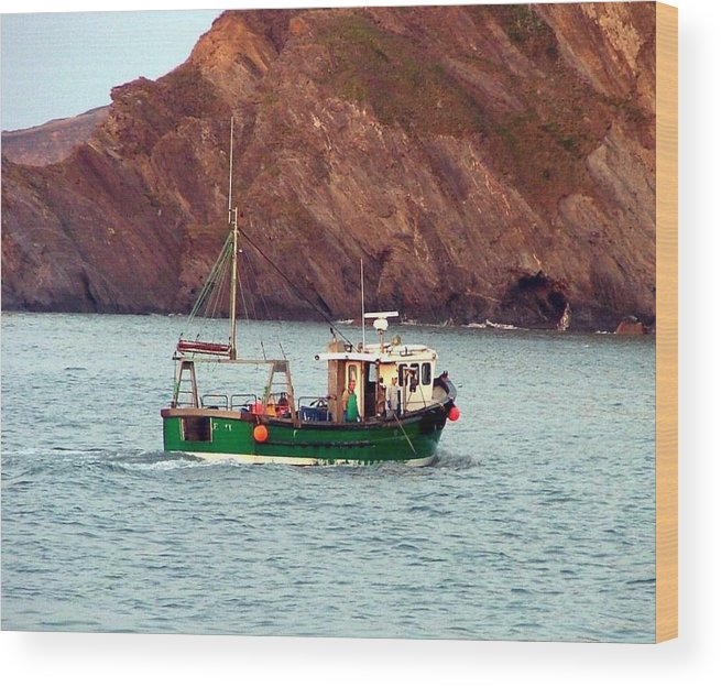 Boat Wood Print featuring the photograph Lobster Fishing Boat by Mindy Newman