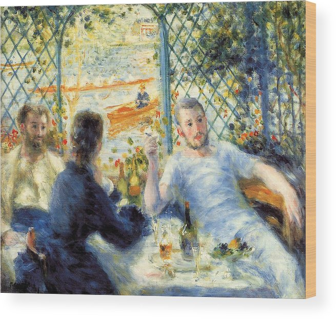 Boating Wood Print featuring the painting Lunch At The Restaurant Fournaise, The Rower's Lunch by Pierre-Auguste Renoir