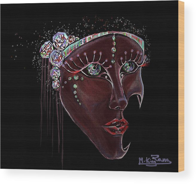 Mask Wood Print featuring the digital art Mask Crystal by Rana King