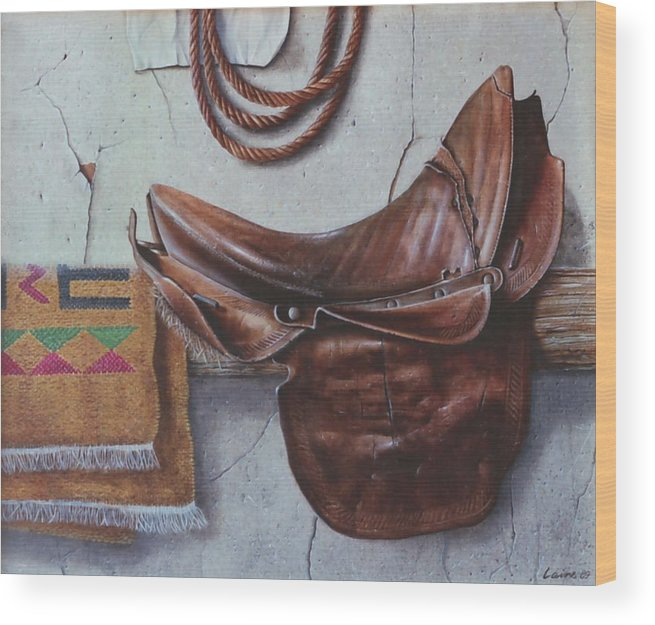 Realism Wood Print featuring the painting Montura by Laine Garrido
