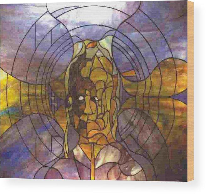 Portrait Wood Print featuring the glass art Music by Greg Gierlowski