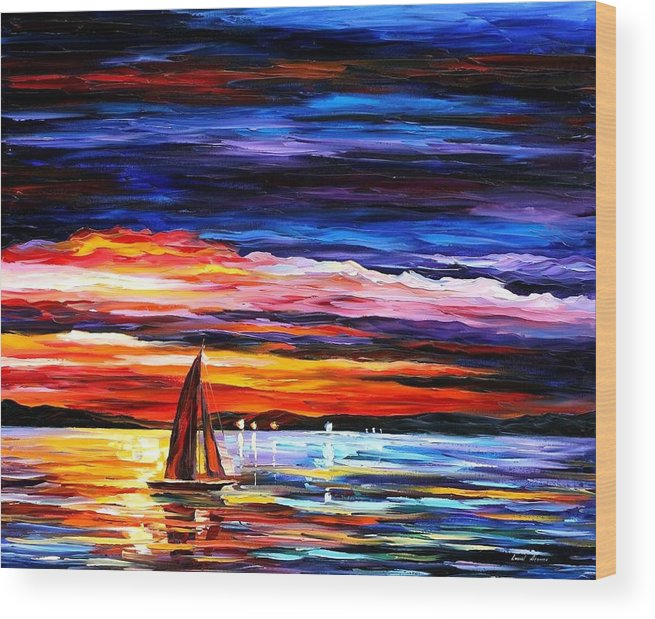 Seascape Wood Print featuring the painting Night Sea by Leonid Afremov