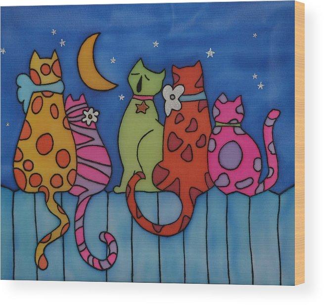 Cats Wood Print featuring the painting Night Singers  by Tatiana Antsiferova