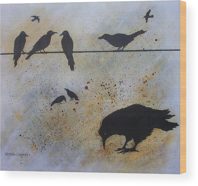 Crows Wood Print featuring the painting Nine Is A Secret by Victoria Heryet