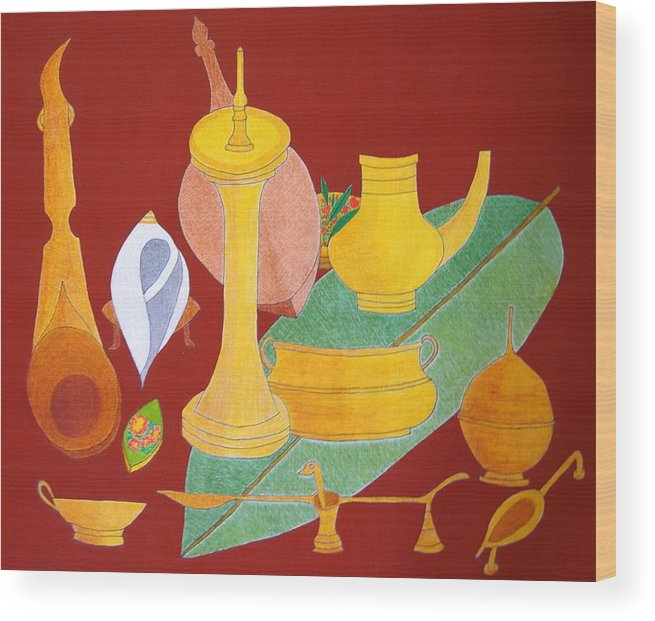 Utensils For Rituals; Still Life Wood Print featuring the painting No.332 by Vijayan Kannampilly