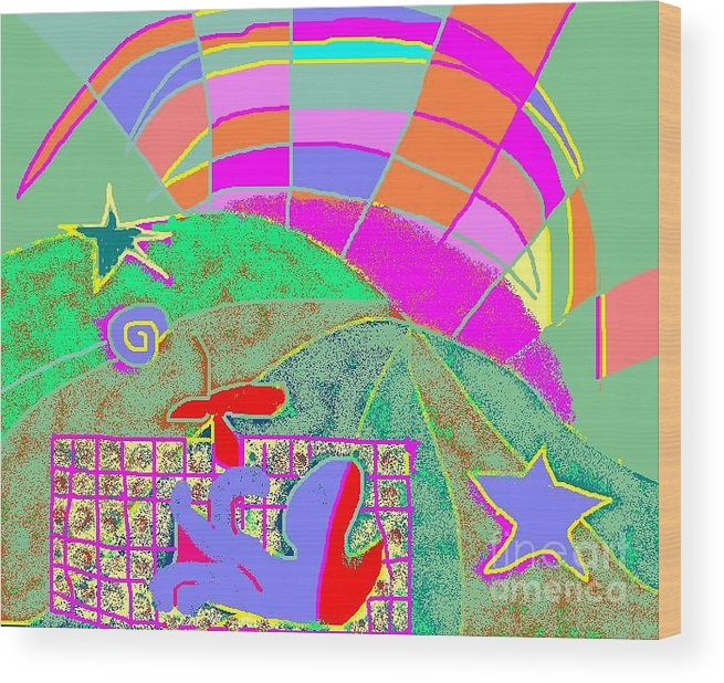 Greeting Card Wood Print featuring the digital art Octopus' Garden by Beebe Barksdale-Bruner