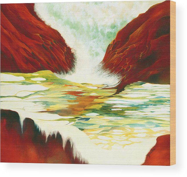Oil Wood Print featuring the painting Overflowing by Peggy Guichu