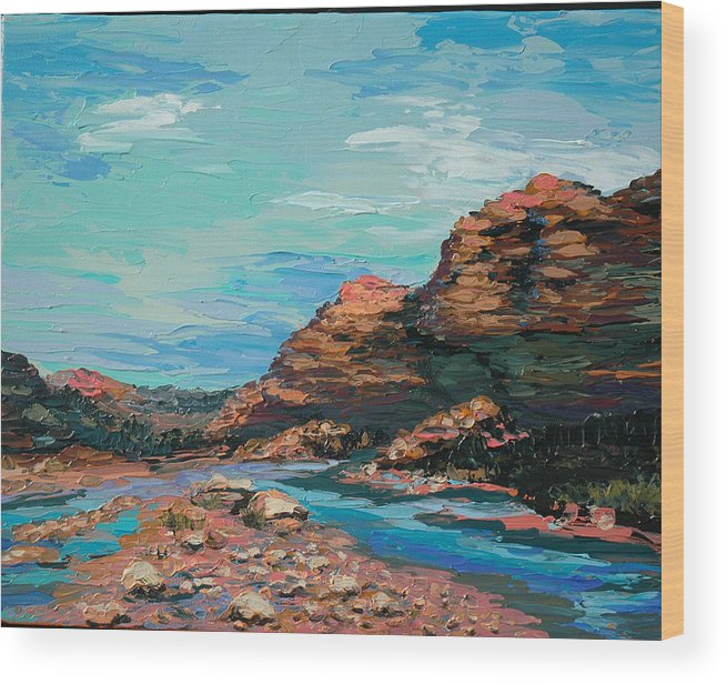 Landscape Wood Print featuring the painting Palma Canyon by Cathy Fuchs-Holman