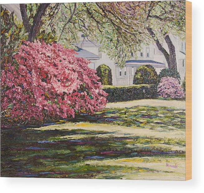 Park Wood Print featuring the painting Park Spring Blossom With Shadows by Richard Nowak