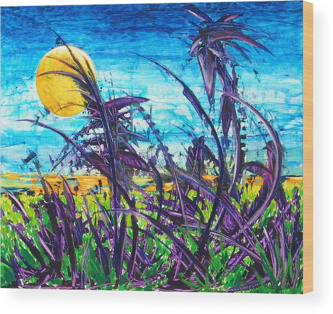Landscape Wood Print featuring the painting Patch Of Field Grass by Rollin Kocsis