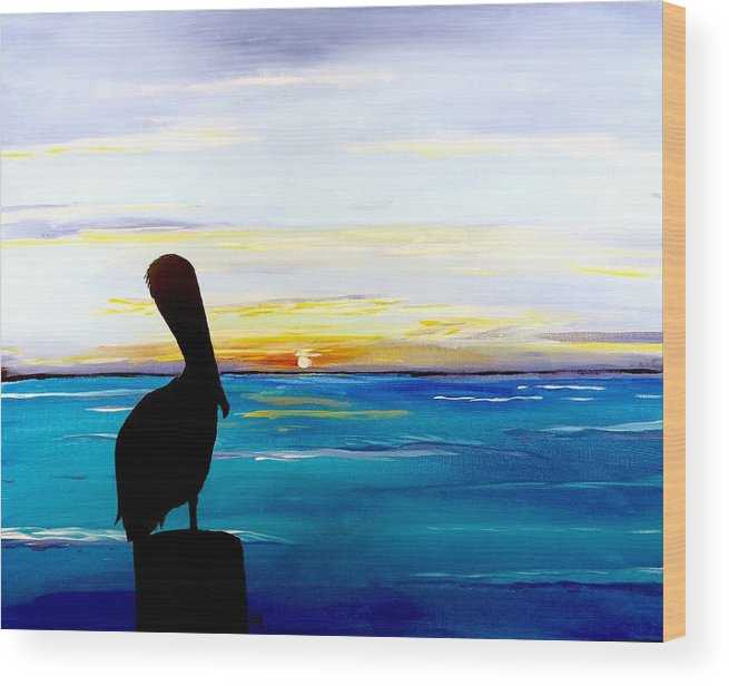 Sunset Painting Wood Print featuring the painting Pelican Bay by Carol Blackhurst