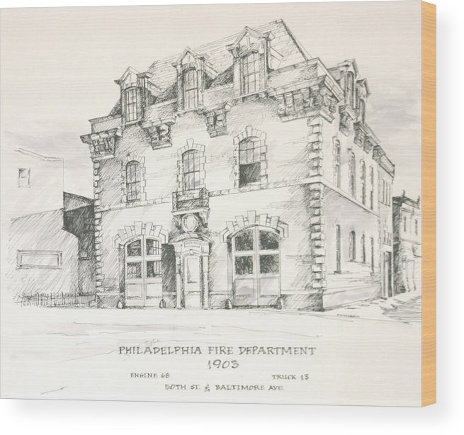 Philadelphia Firehouse Fire Firefighting Wood Print featuring the painting Philadelphia Firehouse by William McCullagh