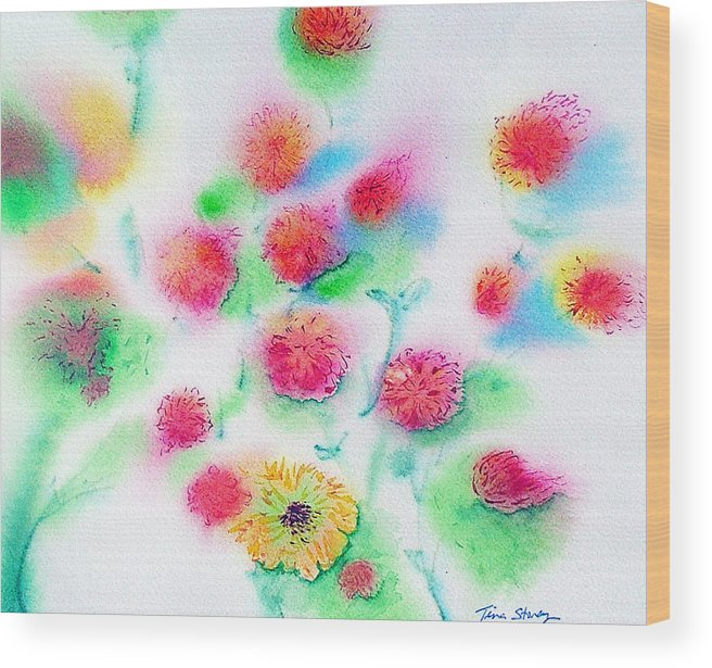 Flowers Wood Print featuring the painting Pixie Flowers by Tina Storey