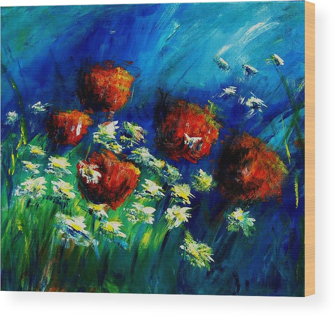 Flowers Wood Print featuring the painting Poppies And Daisies by Veronique Radelet