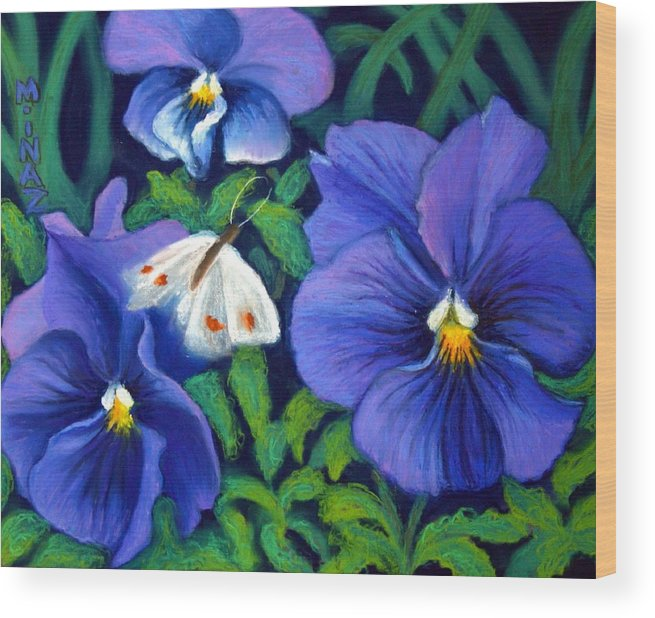 Pansy Wood Print featuring the painting Purple Pansies And White Moth by Minaz Jantz