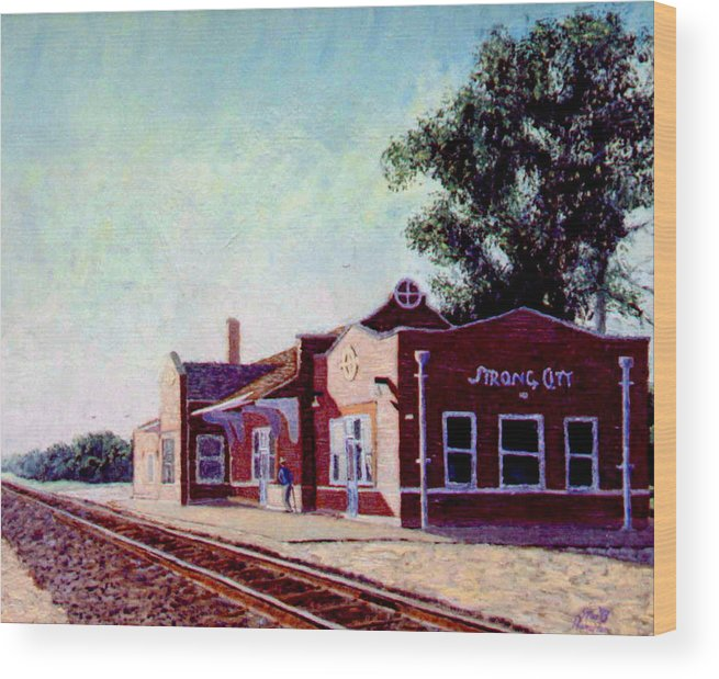 Original Oil On Wood Panel Wood Print featuring the painting Railroad Station by Stan Hamilton