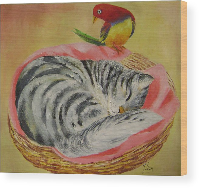 Naive Wood Print featuring the painting Red Bird by Lian Zhen