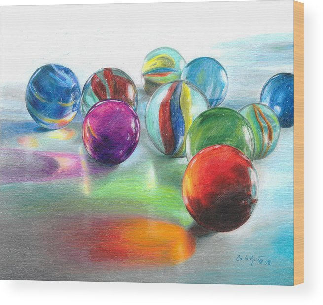 Marbles Wood Print featuring the drawing Red Marble Reflections by Carla Kurt