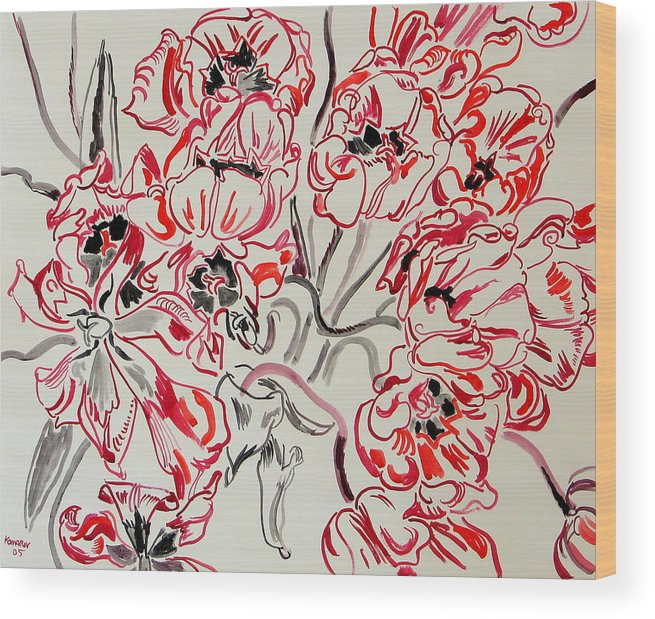 Red Wood Print featuring the painting Red Tulips by Vitali Komarov