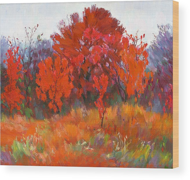 Wood Print featuring the painting Red Woods Painting by Zhan Jianjun