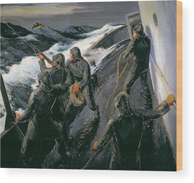 Rescue - Firing A Costen Gun Line (oil On Canvas) By Thomas Harold Beament (1898-1985) Wood Print featuring the painting Rescue by Thomas Harold Beament