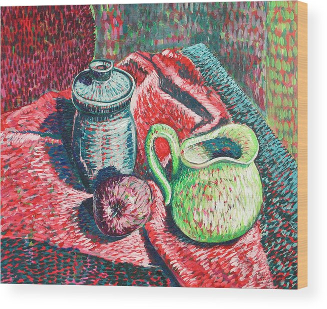 Still Life Wood Print featuring the painting Richards Pitcher In Green by Rollin Kocsis